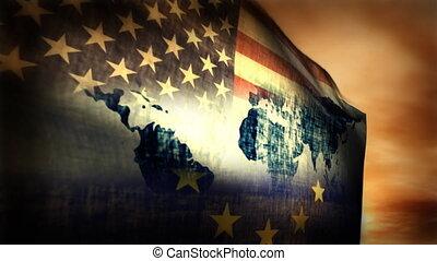 (1126) Multi-national Flag USA, EU and World Map Composition