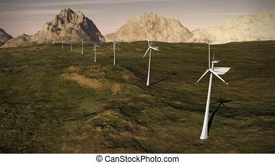 (1149), elektryczność, wiatr turbiny, zagroda, dostarczcie energii elektrycznej ruszt, czysty, alternatywna energia, pętla