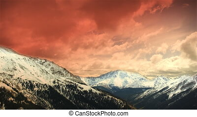 (1151) Early Winter Colorado Mountains Snow Sunset Clouds...