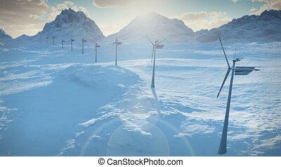 (1152), elektryczność, wiatr turbiny, zagroda, moc, czysty, alternatywna energia, zima, śnieg, pętla