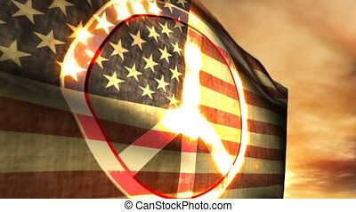 1179 Peace Sign USA American Flag - Themes of peace,...