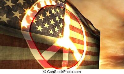 1179, vrede teken, usa, amerikaanse vlag