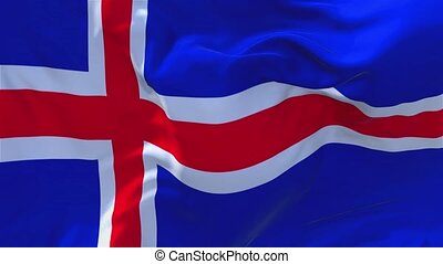 119. Iceland Flag Waving in Wind Continuous Seamless Loop Background.