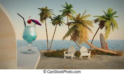 (1191) Romantic Tropical Beach Ocea
