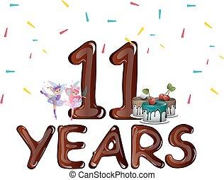 11o, aniversário, feliz