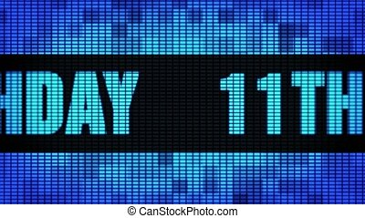 11th Happy Birthday Front Text Scrolling LED Wall Pannel Display Sign Board