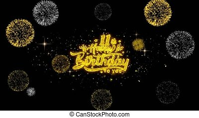11th Happy Birthday Golden Text Blinking Particles with Golden Fireworks Display