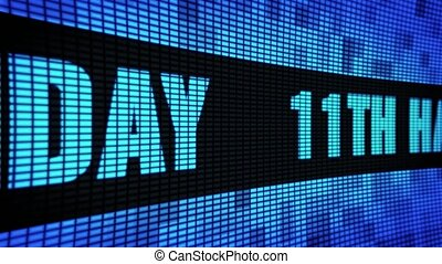 11th Happy Birthday Side Text Scrolling LED Wall Pannel Display Sign Board