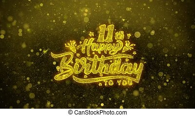 11th Happy Birthday Wishes Greetings card, Invitation, Celebration Firework