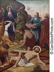 11th Stations of the Cross, Crucifixion: Jesus is nailed to ...