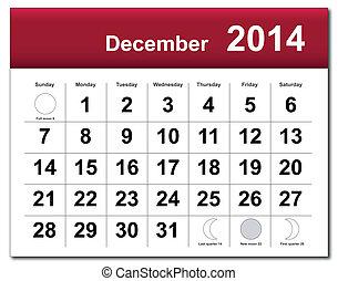 12月, 2014, カレンダー