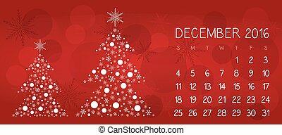 12月, 2016, クリスマス, カレンダー