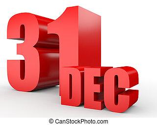 12月, 31., テキスト, 白, バックグラウンド。