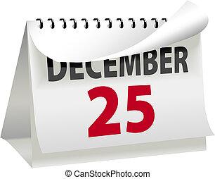 12月25日, クリスマス, 回転, カレンダー, ページ