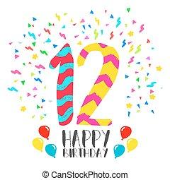 12 , πρόσκληση , γενέθλια , έτος , πάρτυ , κάρτα , ευτυχισμένος