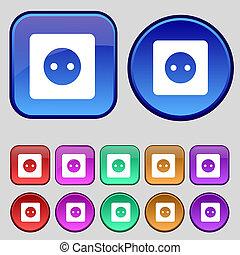 12, セット, 印, プラグ, 力, 型, エネルギー, ボタン, アイコン, デザイン, あなたの, 電気である