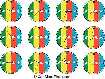 12, セット, 壁, 季節, 隔離された, 1(人・つ), clocks, 背景, 白, ラウンド