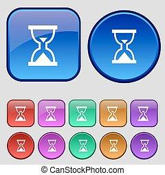 12, セット, 砂時計, 型, 印。, タイマー, ボタン, 砂, ベクトル, アイコン, あなたの, design.
