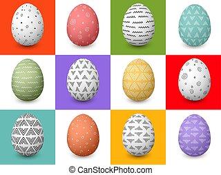 12, 有色人種, お祝い, 単純である, 卵, 飾られる, パターン, flourishes, セット, 白, イースター, 抽象的