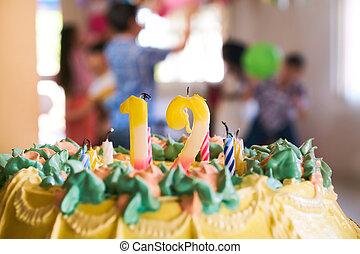 12, 蜡烛, 生日蛋糕, 党, 孩子