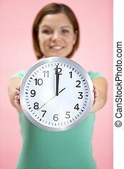 12, 钟, 显示, 点钟, 妇女握住