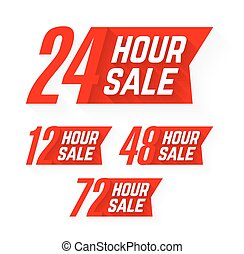 12, 24, 48 and 72 Hour Sale labels vector illustration