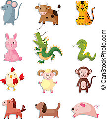 12 animal icon set,Chinese Zodiac animal