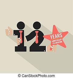 12, aniversario, ilustración, tipografía, vector, diseño,...