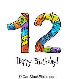 12, aniversario, saludo, celebration., plantilla, tarjeta