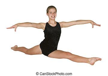 12, ano velho, menina, em, ginástica, poses