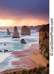 12 Apostles at Great Ocean Road in Australian in the late...