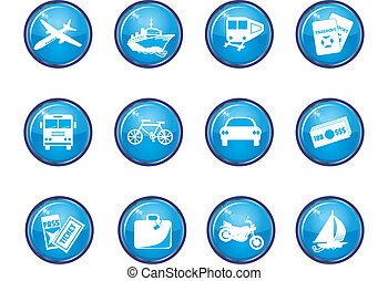 12 Blue Glossy Travel Icons - motorcycle, automobile,...