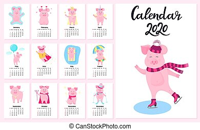 12 calendar cards with funny pigs for each month of the year 2020. Cute piggy in a cap and scarf skating.