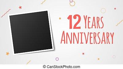 12, card., marco de la foto, aniversario, años, elegante,...
