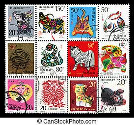 12 Chinese zodiac postage stamp