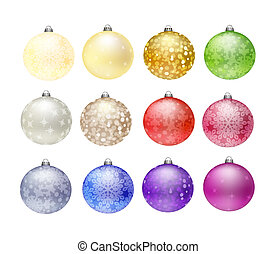 12 Christmas baubles isolated on white