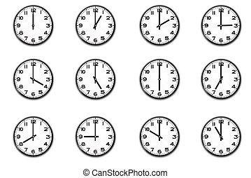 12, clocks, kiállítás, idő