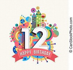 12, color, cartel, saludo, cumpleaños, año, tarjeta, feliz
