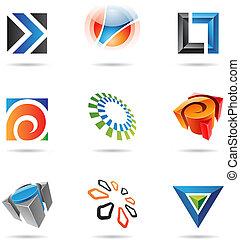 12, colorito, astratto, icone, set, vario
