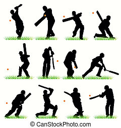 12 Cricket Players Silhouettes Set