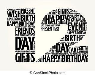 12, cumpleaños, palabra, nube, feliz
