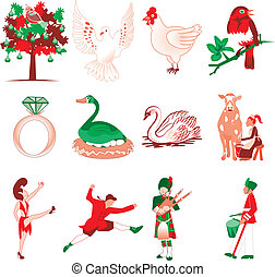 12 Days of Christmas - Vector Illustration Card of the 12...