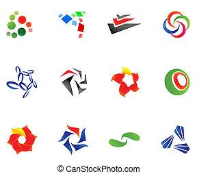 12, diferente, coloridos, vetorial, symbols:, (set, 10)