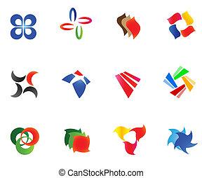 12, diferente, coloridos, vetorial, symbols:, (set, 9)