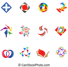 12 different colorful vector symbols: (set 14)