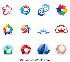 12 different colorful vector symbols: (set 1)