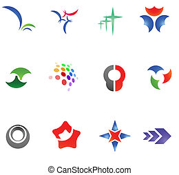 12 different colorful vector symbols: (set 11)