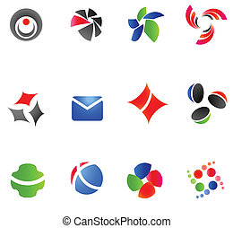 12 different colorful vector symbols: (set 12)
