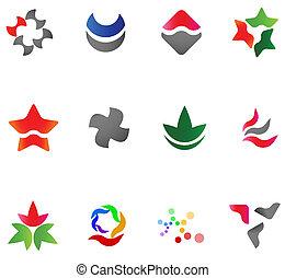12 different colorful vector symbols: (set 13)