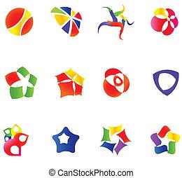 12 different colorful vector symbols: (set 16)